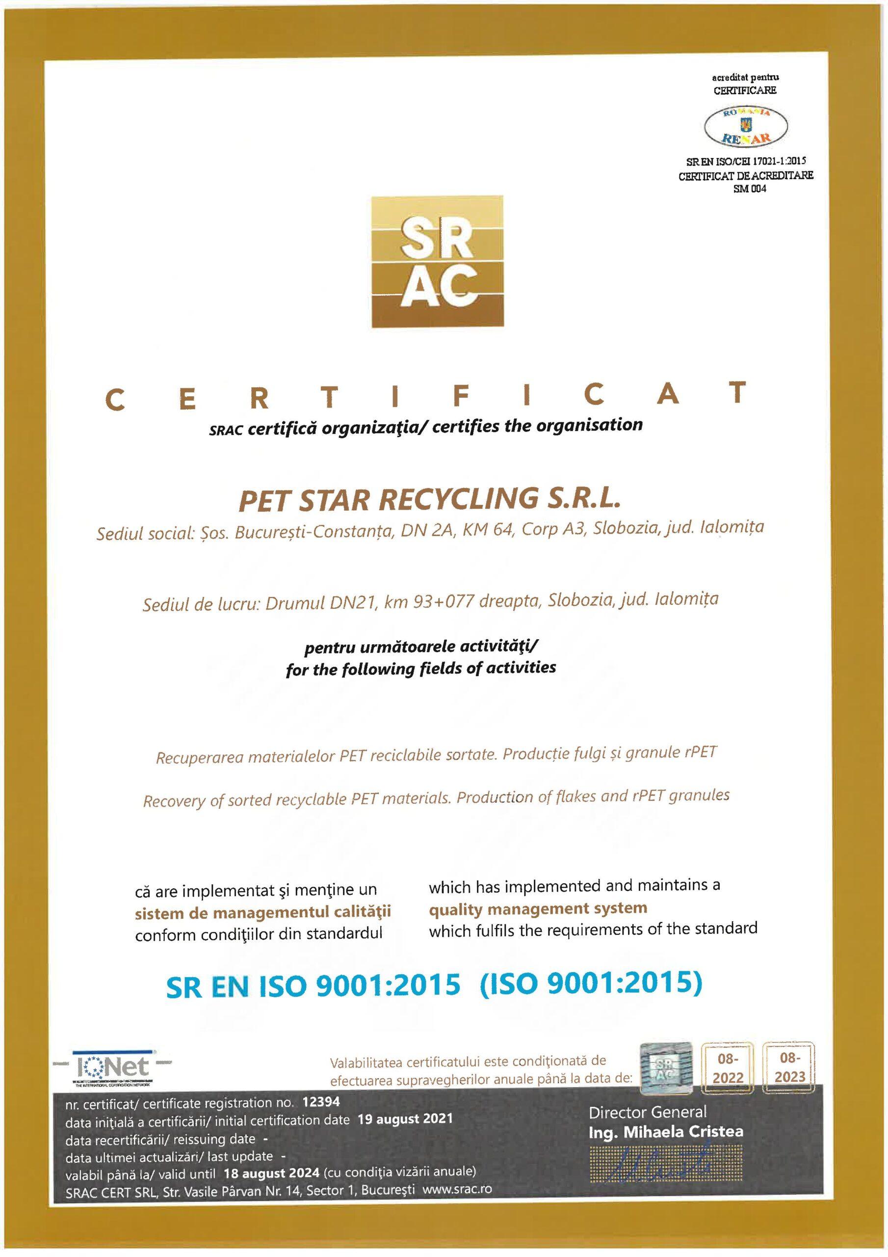Certificare SRAC ISO 9001:2015