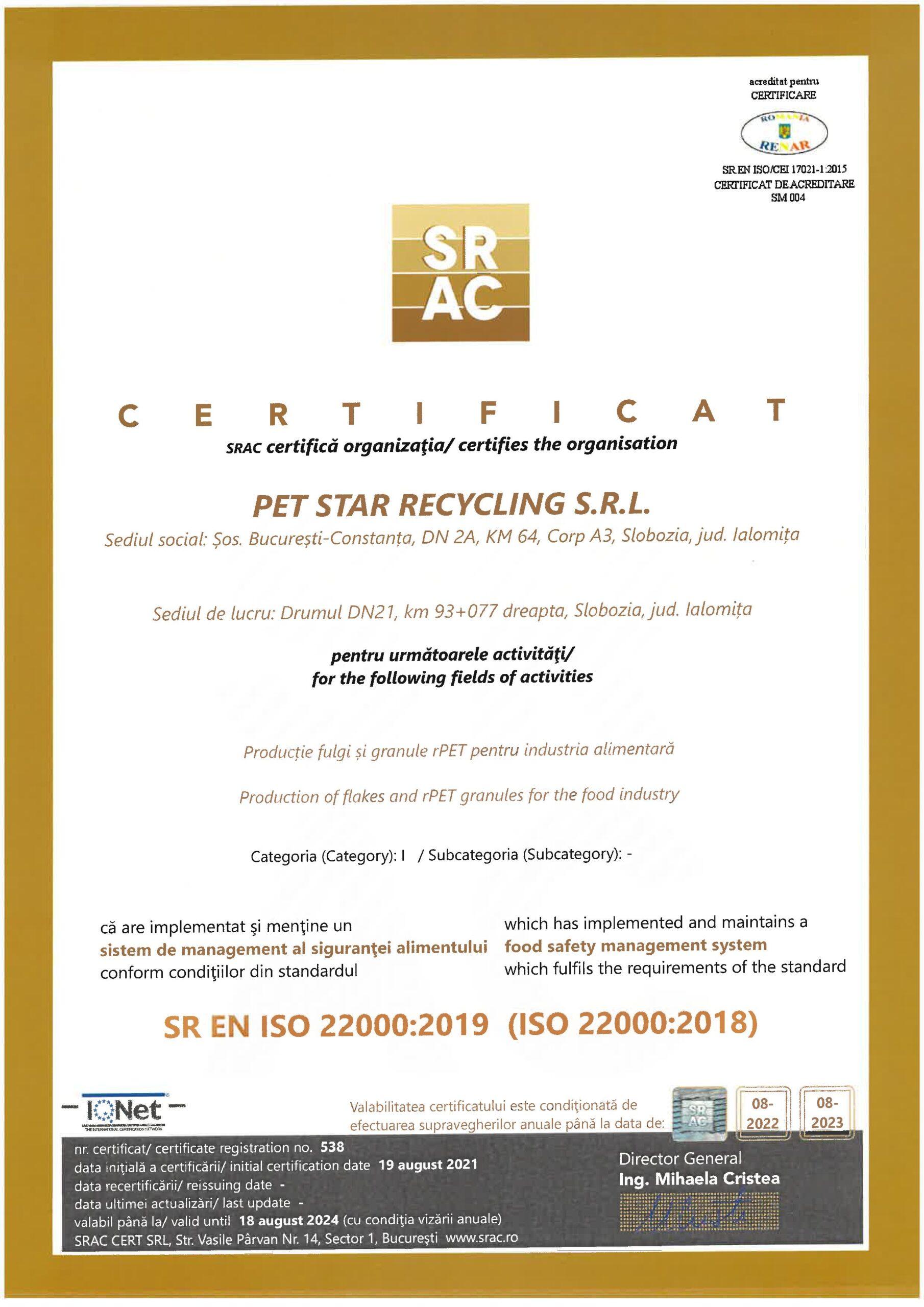 Certificare SRAC ISO 22000:2019