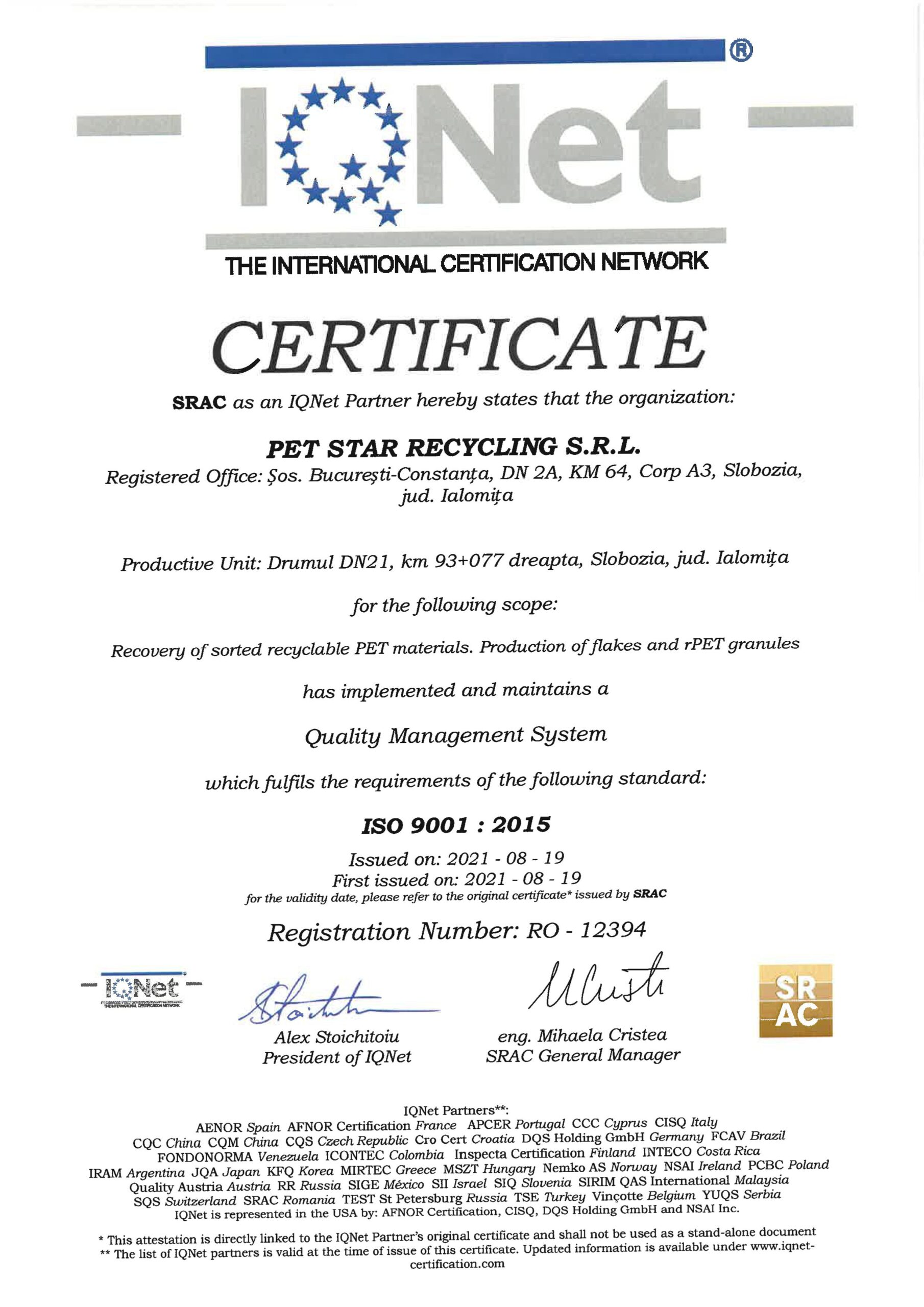 Certificare IQNET ISO 9001:2015